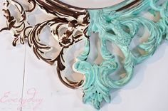 Turquoise Mirror Frame #DIY #IKEAhack #crafting - www.countrychicpaint.com/blog