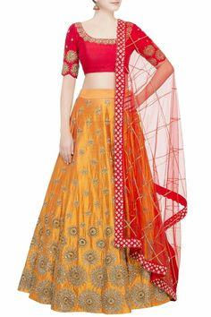 Buy Yellow lehenga with red blouse & dupatta by Mrunalini Rao at Aza Fashions Designer Lehnga Choli, Designer Bridal Lehenga, Bridal Lehenga Choli, Yellow Lehenga, Red Lehenga, Indian Lehenga, Anarkali, Indian Gowns Dresses, Indian Fashion Dresses