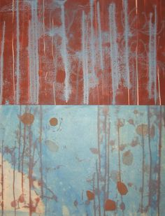"""Stacy Frank Printmaker - The upper layer of this monoprint is is a thicker Rives BFK paper - brown ink is overlaid by sky blue reverse printing and an anise aquatint. Below is a buff colored chine colle paper with brown referse printing, blue monotype and brown dots printed from linoleum cuts. Image size is 13"""" x 17.5"""""""