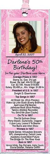 Unique Favors For A Milestone Birthday Party -Year You Were Born photo bookmarks are personalized with your name, date and fun facts from the year you were born. Choice of background colors. www.photo-party-favors.com
