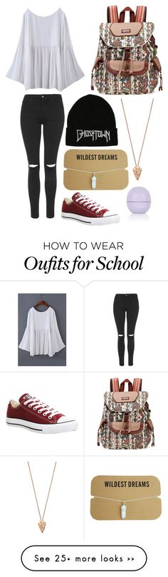 """""""Off to school!"""" by just-a-hippie on Polyvore featuring Topshop, Sakroots, Pamela Love and Converse"""