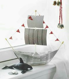 4 Fun Father's Day Gifts That Kids Can Make And Dads Will Love: origami newspaper pirate ship. Diy Father's Day Crafts, Father's Day Diy, Paper Crafts, Cardboard Crafts, Spring Crafts, Yarn Crafts, Funny Fathers Day Gifts, Fathers Day Crafts, Gifts For Dad