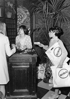 Shopping in Biba, Kensington High Street. Mum (on the right) pretending to be a shopper.