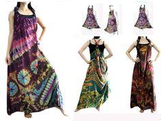 vtg retro thai HIPPIE BOHO tie dye handmade polkadot butterfly kaftan maxi dress