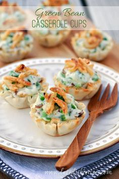 Instead of using as part of a main meal,these green bean casserole bites can be served as apps for any party.