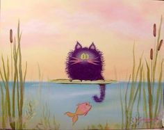 Fishing Cat via ebsqart the artist that does Cranky Cats...will remember name & fill in(sorry)