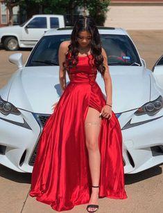 Pretty Prom Dresses, Grad Dresses, Ball Dresses, Cute Dresses, Evening Dresses, Short Dresses, Dress Long, Long Red Satin Dress, Red Formal Dresses