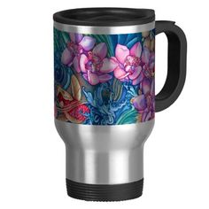Orchid Splash Travel Commuter Mug | Zazzle $24.95 #new #orchid #tropical #Koi #pond #stream #watercolor #art on #travel #commuter #mug #insulated #stainless steal for #her #gift #winter by #vikkisalmela #polkadotstudio on #zazzle