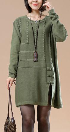 Green vintage sweaters women plus size knit tops dresses open hem