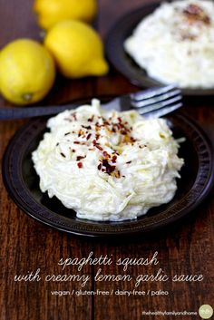 Clean Eating Vegan Spaghetti Squash with Creamy Lemon Garlic Sauce...vegan, gluten-free, dairy-free, paleo-friendly | The Healthy Family and Home