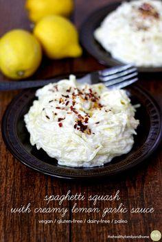 Clean Eating Vegan Spaghetti Squash with Creamy Lemon Garlic Sauce...vegan, gluten-free, dairy-free, paleo-friendly | The Healthy Family and Home