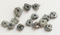 WHOLESALE 4 Pcs Large Hole Grey Rough Diamond by gemsforjewels