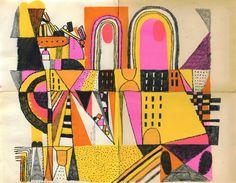 "Josh Cochran. ""Bergen Street"". Litho crayon and acrylic on found paper."