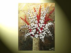 modern flower paintings | Painting, White Flower Painting, Red Berries Branches in Vase, Modern ...