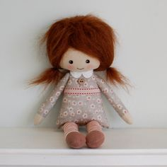 rag doll brunette cloth doll in retro dress by Lybo on Etsy