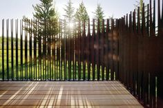 Trader Studio Addition by Carney Logan Burke Architects The steel fence is composed of slender fins that are angled at varying degrees, and split into forks of varying length. Fence Slats, Front Fence, Fencing, Front Entry, Steel Fence, Corten Steel, Landscape Architecture, Landscape Design, Sustainable Architecture