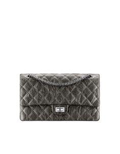 Large 2.55 handbag, metallic crumpled calfskin & silver-tone metal-charcoal - CHANEL