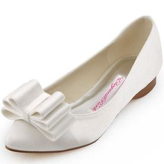 FC1406 White Satin Prom Ballet Flats Pointed Toe Bows Wedding Bridal Shoes US 9
