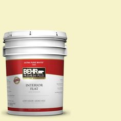 BEHR Premium Plus 5-gal. #400A-1 Candlelight Yellow Zero VOC Flat Interior Paint