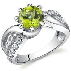 Regal Helix 1.25 carats Peridot Ring in Sterling Silver Rhodium Nickel Finish Size 5 Peora