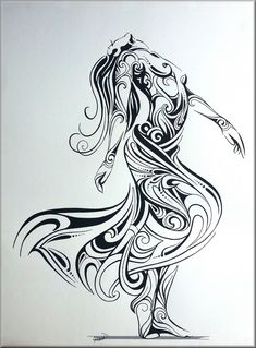 She Dances in Ecstasy (for Jean-Claude aka Jean_C) by Cyve Pin-ups Arte Cholo, Fairy Drawings, Tribal Drawings, Virgo Tattoo Designs, Native Tattoos, Maori Designs, Nz Art, Ange Demon, Maori Art