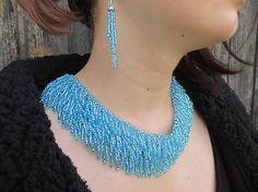 MariN.Art / strapcovitý náhrdelník aquamarin Beadwork, Turquoise Necklace, Beaded Jewelry, Crochet Necklace, Art, Fashion, Art Background, Moda, Fashion Styles
