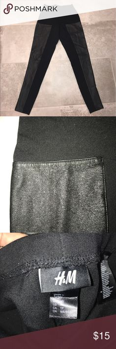 Faux leather Capri leggings These are H&M black faux leather Capri leggings!! Super comfortable, no damage, worn a couple of times, can be dressed up or down, too small for me! H&M Pants Leggings