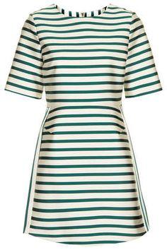 Satin Stripe A-Line Dress Topshop