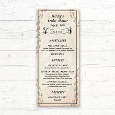 Harry Potter Marauders Map Printable Menu Card Wedding Bridal Shower Baby Shower by CrissyDesignCo