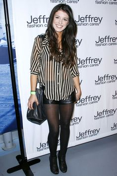 Sexy shenae Grimes in black pantyhose and sexy sheer top Pantyhose Outfits, Black Pantyhose, Shenae Grimes, Shorts With Tights, Autumn Winter Fashion, Winter Style, Grey Jeans, Leather Dresses, Leather Shorts