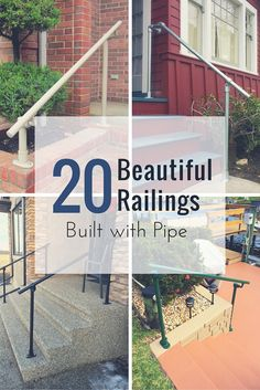 To prove to you that railings built with pipe and fittings can still look amazing, here are 20 railings that are just as beautiful as they are functional: Porch Step Railing, Exterior Stair Railing, Diy Stair Railing, Pipe Railing, Porch Steps, Diy Porch, Handrail Ideas, Outside Handrails, Porch Handrails