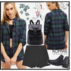 How To Wear Check Print Loose Green Blouse Outfit Idea 2017 - Fashion Trends Ready To Wear For Plus Size, Curvy Women Over 20, 30, 40, 50