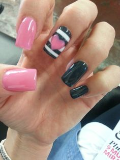 Pink and strip nails