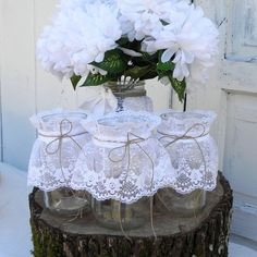3 Rustic Lace Mason Jars Wedding Table Decoration by LavaGifts