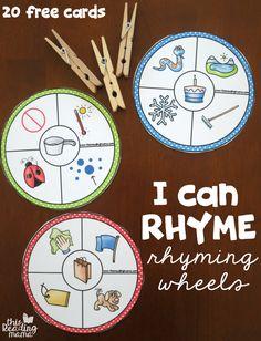 20 Free Rhyming Wheels - I Can Rhyme - This Reading Mama Phonological Awareness Activities, Rhyming Activities, Phonemic Awareness Kindergarten, Kindergarten Literacy, Preschool Learning, Literacy Games, Phonics Games, Rhyming Words, Workshop