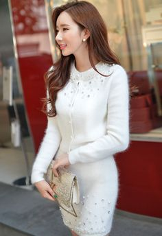 Morpheus Boutique  - White Crystal Soft Knit Long Sleeve Sweater, CA$92.53 (http://www.morpheusboutique.com/new-arrivals/white-crystal-soft-knit-long-sleeve-sweater/)