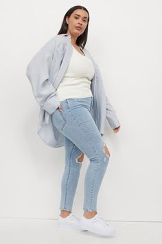 Plus Size Inspiration, Popular Now, H&m Gifts, Trending Now, Light Denim, Fashion Company, Stretch Denim, Ankle Length, Jeggings