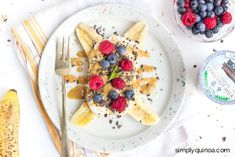 A healthy and delicious spin on a classic kid-friendly dessert, this breakfast banana split recipe is loaded with nutrition and taste amazing too! Breakfast Tacos, Health Breakfast, Easy Healthy Breakfast, Breakfast For Kids, Healthy Dinner Recipes, Real Food Recipes, Breakfast Recipes, Dessert Recipes, Desserts