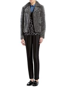 Gray Curly Lamb Biker Jacket, Leopard-Effect Mohair V-Neck Sweater, Leopard-Print Straight Shirt & Macro Pinstripe Pants by Gucci at Bergdorf Goodman.