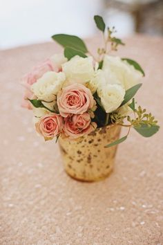 coral wedding table centerpiece with sequin linen Pink Centerpieces, Wedding Table Centerpieces, Wedding Decorations, Centrepieces, Stage Decorations, Wedding Ideas, Boutonnieres, Floral Wedding, Wedding Flowers