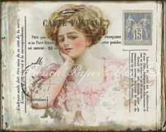 Vintage French Postcard Digital Download, Victorian Lady in Pink, Postal Markings, Vintage French Printable