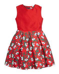 Taffeta Magnolia-Print Party Dress, Red, Girls' by Oscar de la Renta at Neiman Marcus. Baby Boy Fashion, Love Fashion, Kids Fashion, Fashion Design, Toddler Dress Patterns, Girls Designer Clothes, Moda Kids, Glamour, Size Clothing