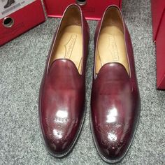 "My friend Mr J, Fitzpatrick, aka ""The Shoe Snob"" has these available now among many other brilliant creations of his, either via ""The Shoe Snob Blog"", or from Gieves & Hawkes, or Selfridges.  These are probably my favourites - an elegant Prince Albert loafer with medallion.  Also in black, around £300"