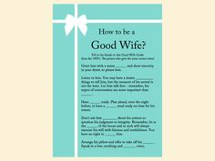 how to be a good wife guide, how old was bride, guess the age, finish bride's phrase, date night, bingo, apron game, advice for bride card, tiffany blue, tiffany bridal shower games, breakfast at tiffanys bridal shower