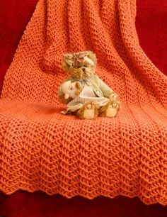 Crocheted Blanket in Persimmon Orange- Love this bright color and the design!