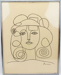 """Pablo Picasso Drawing """"Portrait of Woman"""" Registered Pablo Picasso Drawings, Kunst Picasso, Picasso Sketches, Art Picasso, Picasso Paintings, Art Drawings, Pablo Picasso Zeichnungen, 30 Day Drawing Challenge, Dancing Drawings"""