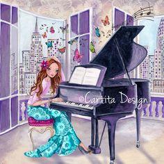 Cartita Design © 2013 #art #piano #new york #city #music #girl #illustration #greeting cards #butterflies