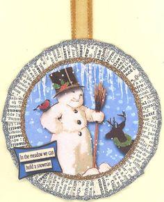 Snowman Christmas Ornament by ONEINTHREEWOMEN on Etsy