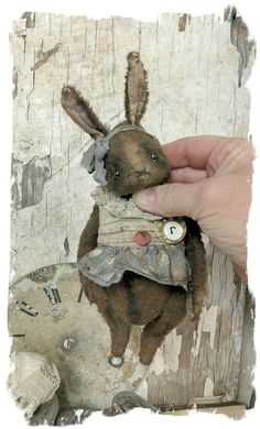 Littles Size. - tall to tip of ears) - Antique Classic Style aged girl bunny rabbit, wearing handmade romper dress from vintage textiles Steampunk Dolls, Fabric Animals, Bear Doll, Primitive Crafts, Soft Sculpture, Antique Toys, Old Toys, Toys For Girls, Handmade Toys