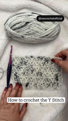 Easy Crochet Stitches, Crochet Stitches For Beginners, Crochet Videos, Crochet Basics, Crochet Blanket Patterns, Crochet Crafts, Yarn Crafts, Crochet Yarn, Crochet Motif
